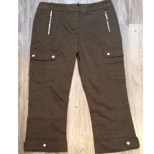 Karen Mullen Cargo Style Pants Brown Cotton Capri